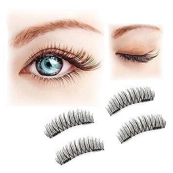 6832ebf6197 Magnetic False Eyelashes, GLUE FREE 3D Reusable Fake Eyelashes Full Strip for  Makeup, Perfect