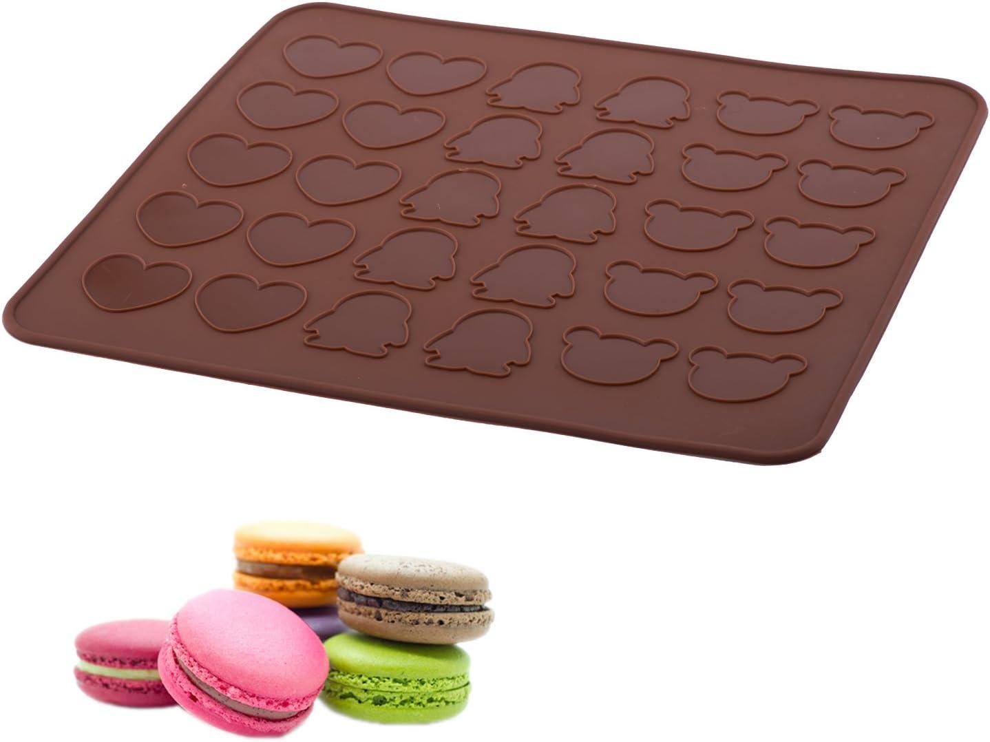 Rouge Brique Silikomart 23.041.00.0065 Mac 01 Tapis pour R/éaliser 48 Macarons Silicone  2 x 18,5 x 37 cm