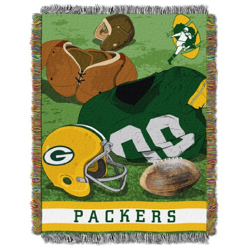 The Northwest Company Officially Licensed NFL Green Bay Packers Vintage Woven Tapestry Throw Blanket, 48