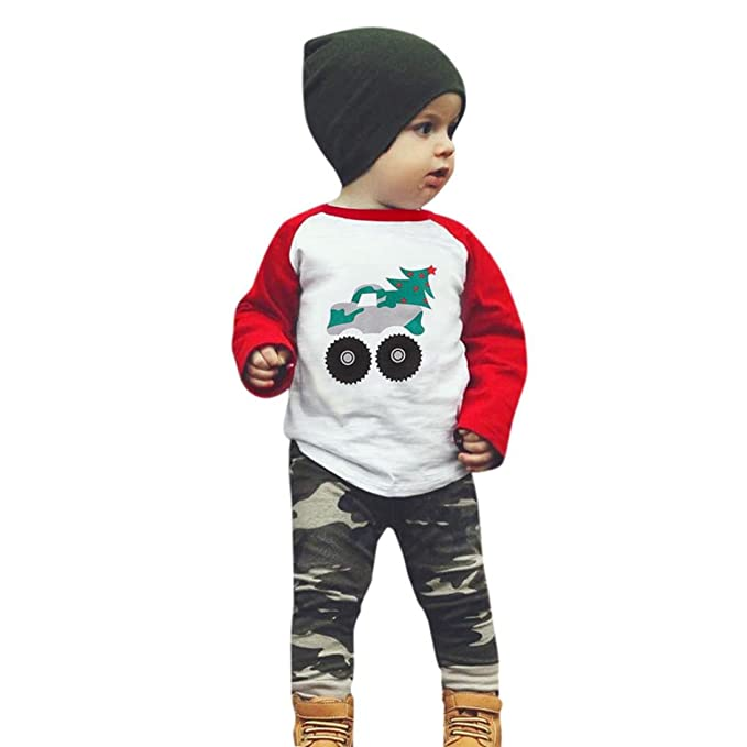 Amazon.com: 2pcs traje bebé niños árbol doble Gear playera ...