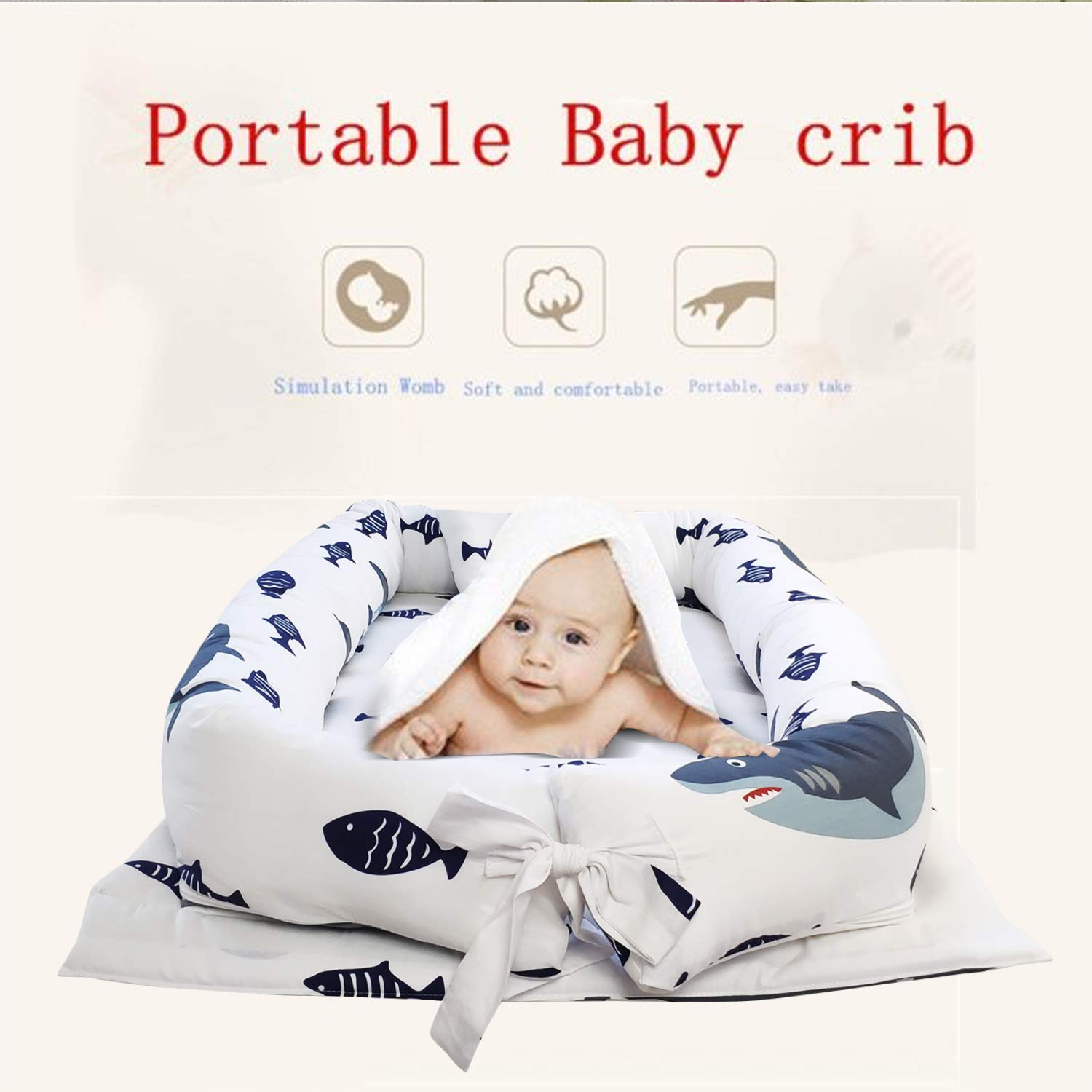 100/% Cotton Portable Crib for Bedroom//Travel 0-24 Months Abreeze Baby Bassinet for Bed Breathable /& Hypoallergenic Co-Sleeping Baby Bed Blue Polar Bear Baby Lounger