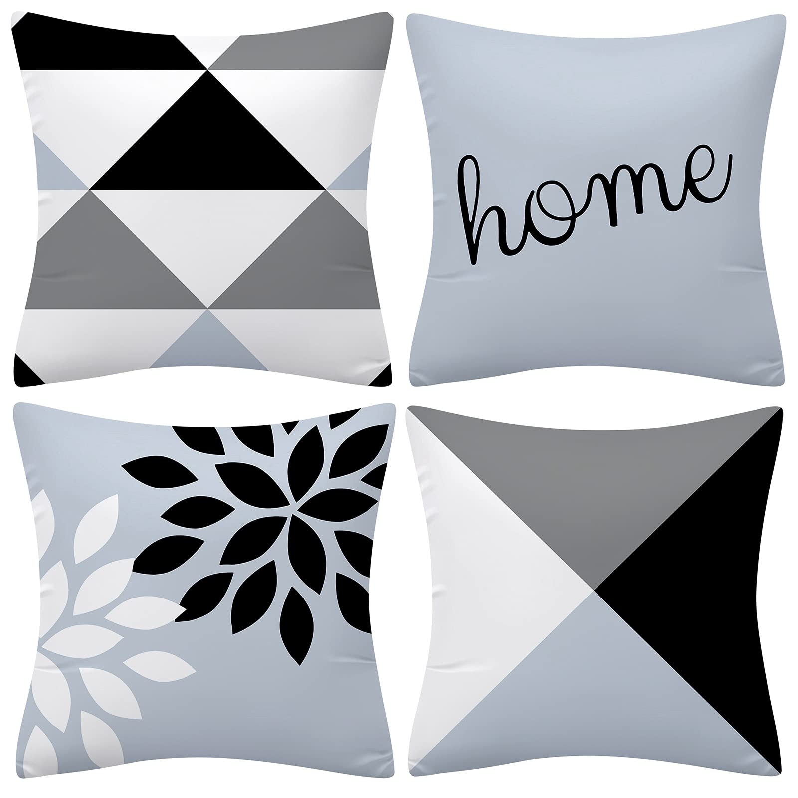 UINI Modern Decorative Throw Pillow Covers Light Blue and Grey Geometric Pillow