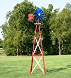 Outdoor Water Solutions 12-Foot Red, White, and Blue Powder Coated Backyard Windmill