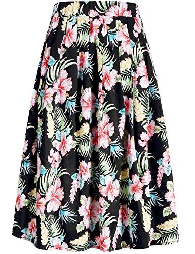 Print Cotton Spandex (SSLR Women's Elastic Waist Hawaiian Flower Shirring Casual A line Midi Skirt (Large, Black))