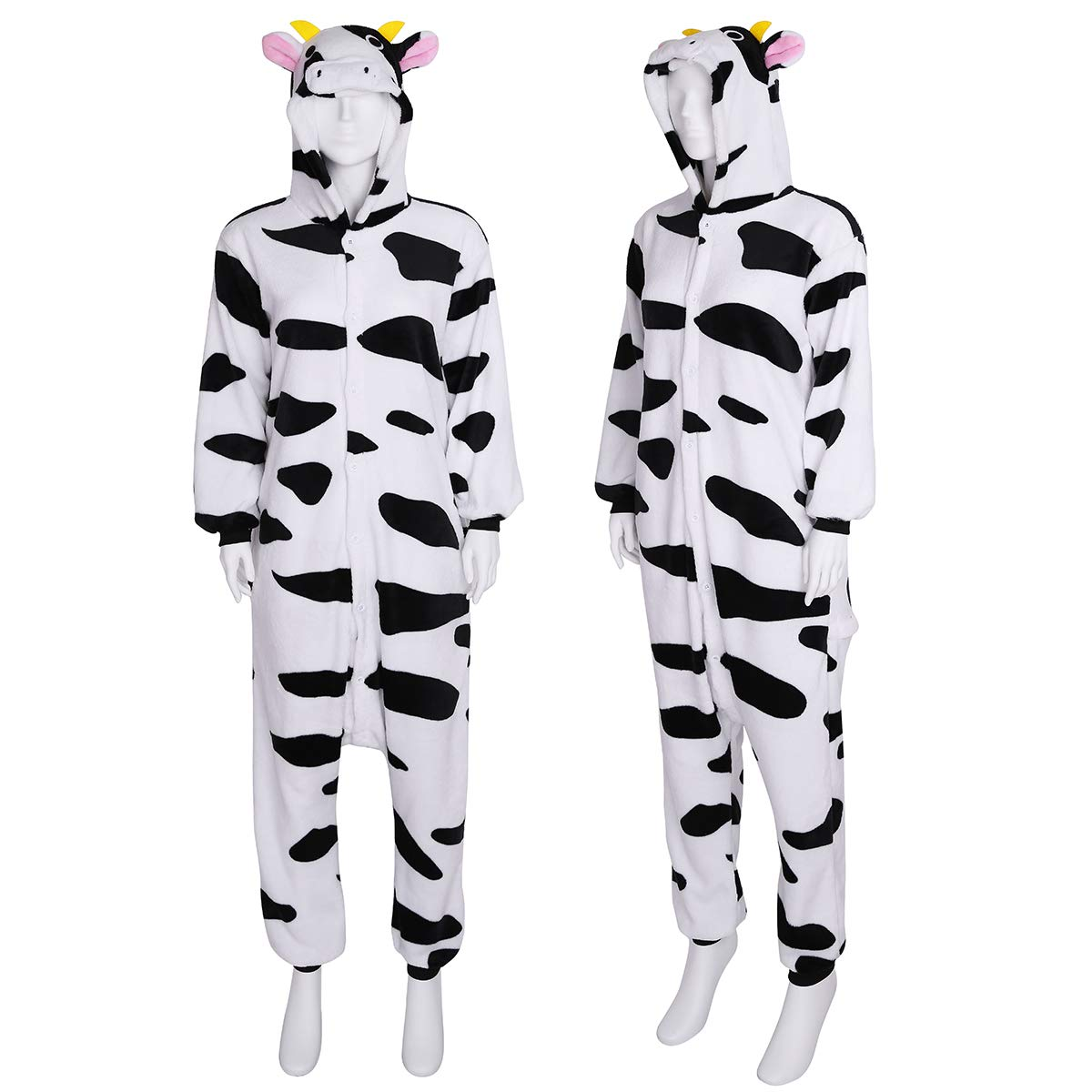 f217ca1598 dPois Pijama Vaca Forro Polar Franela Mujer Hombre Mono Animal Unisex  Adulto Lenceria con Capucha Cálido Peluche Body Ropa de Dormir Noche  Disfraz Cosplay ...
