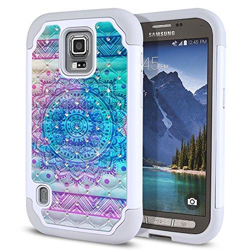 Samsung Galaxy S5 Active G870A Case, Fincibo (TM) Dual Layer Shock Proof Hybrid Hard Protector Cover Anti-Drop Silicone Star Studded Rhinestone Bling, Unicorn Mandala