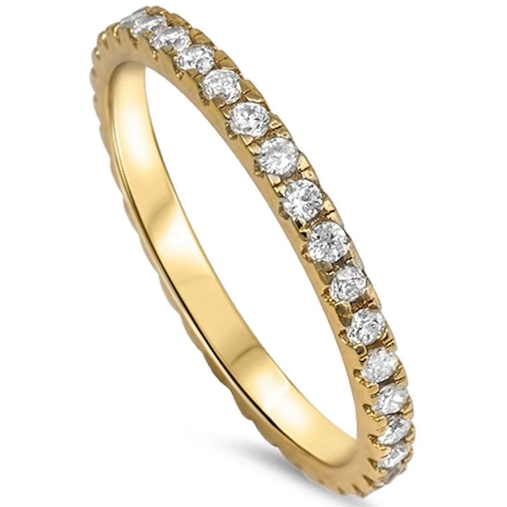Oxford Diamond Co Yellow Gold Plated Cz Eternity Style Band .925 Sterling Silver Ring Size 8