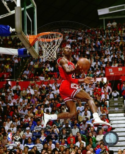 Michael Jordan 1987 Slam Dunk Contest Action Glossy Photograph Photo - Slam Nba Dunk