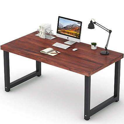 Superbe Tribesigns 55u201d Rustic Solid Wood Computer Desk, Vintage Industrial Home Office  Desk Workstation PC