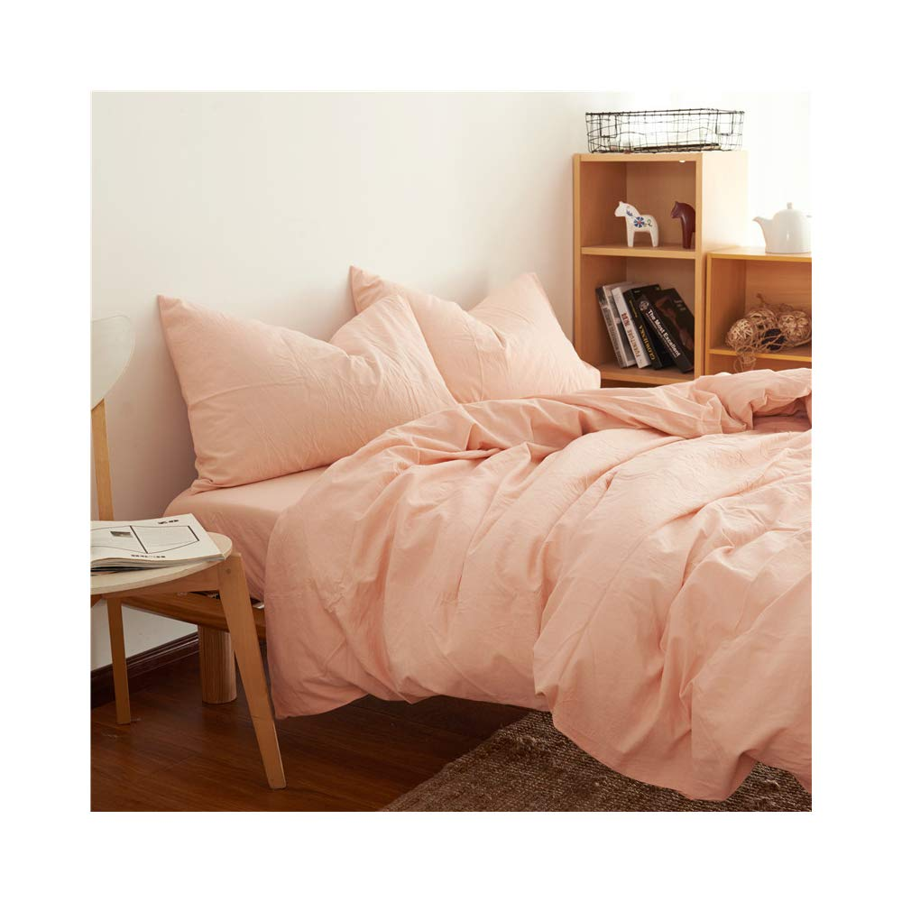 Cazlon Duvet Cover for Weighted Blanket 48''x72''/Pink,100% Washed Cotton, 8 Ties/Just Duvet Cover