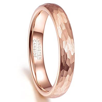 fc74ce42aa4 Nuncad Tungsten Ring 4mm Hammered Finish Rose Gold Plated Comfort Fit Domed  Wedding Band for Men