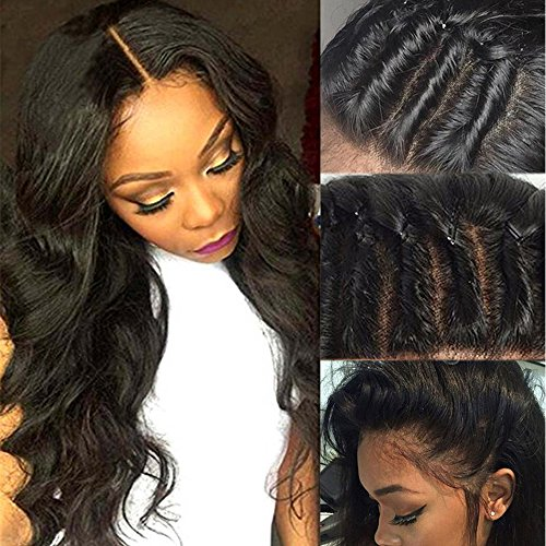 100% Brazilian Virgin Human Hair Glueless Full Lace Wigs Long Body Wave Wavy Lace with Baby Hair Natural Pre Plucked Free Part 130% Denisity for Women (18inch, 1B-Off Black)