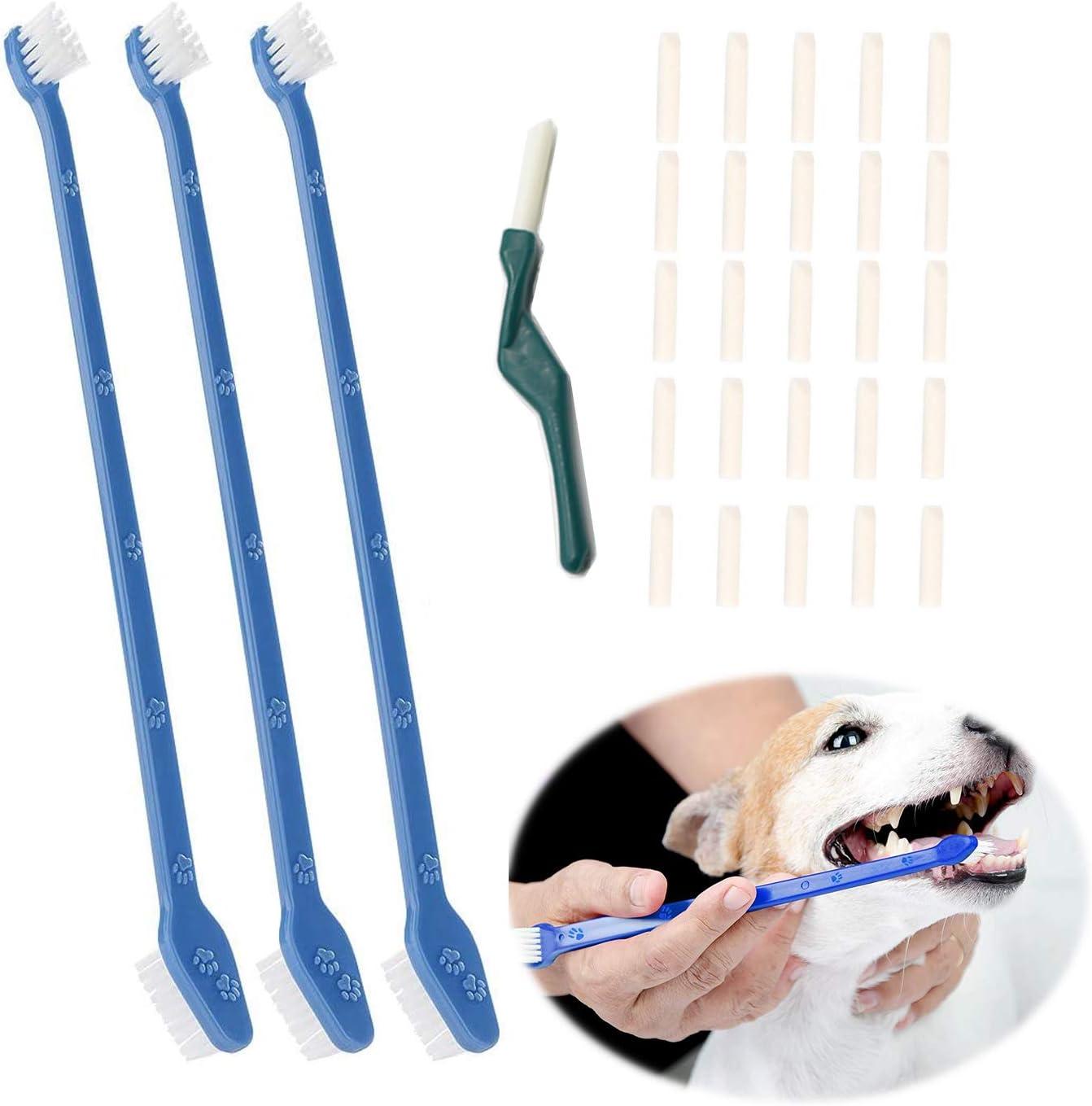 Cepillo de dientes para perros,cepillos de dientes para perros, mascotas,cepillo de dientes de doble cabezal,herramienta de limpieza de dientes para perros Y gatos,elimina la placa y el sarro