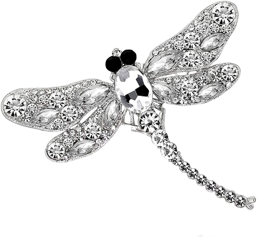 Cute Animal Crystal Scarf Clips Brooches Pins White Jounkal Dragonfly Brooch Pin