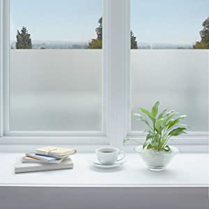 Jahoot Privacy Window Film Frosted, Static Clings Glass Door Tint No Glue Window Sticker for Home Office Security, Anti-UV, Heat Control - No Residue, Easy Removal (Winter Frost, 17.7x78.7 Inches)