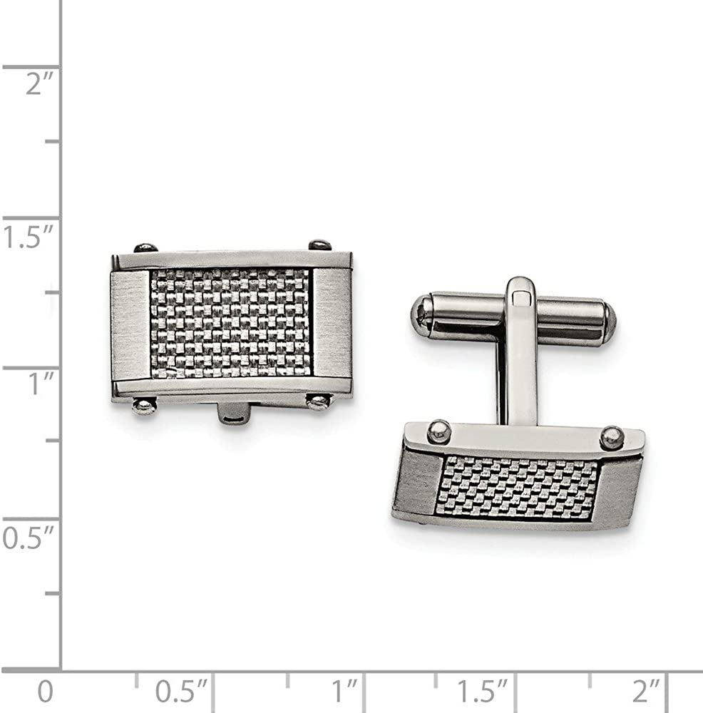 Black Bow Jewelry Mens Stainless Steel and Grey Carbon Fiber Cuff Links 11 x 20mm