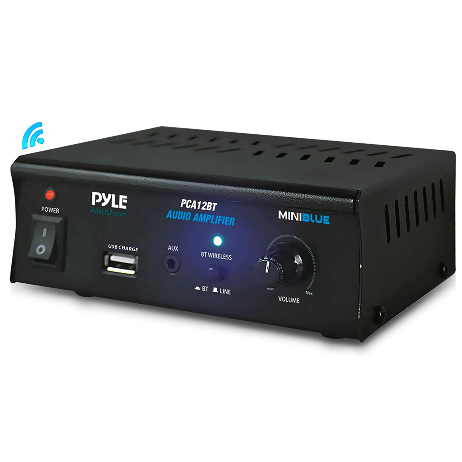 2x25 Watt Mini Power Amplifier - Portable Wireless Bluetooth Mini Home Stereo Audio Speaker Sound Stereo Receiver System for CD, MP3, iPhone Via AUX, USB, for Amplified Subwoofer Speakers - Pyle PCA12