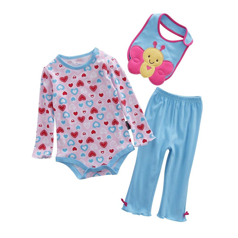 Chic Gal Baby Girls Newborn Long Sleeve 3 Piece Bodysuit Pants and Bib Set