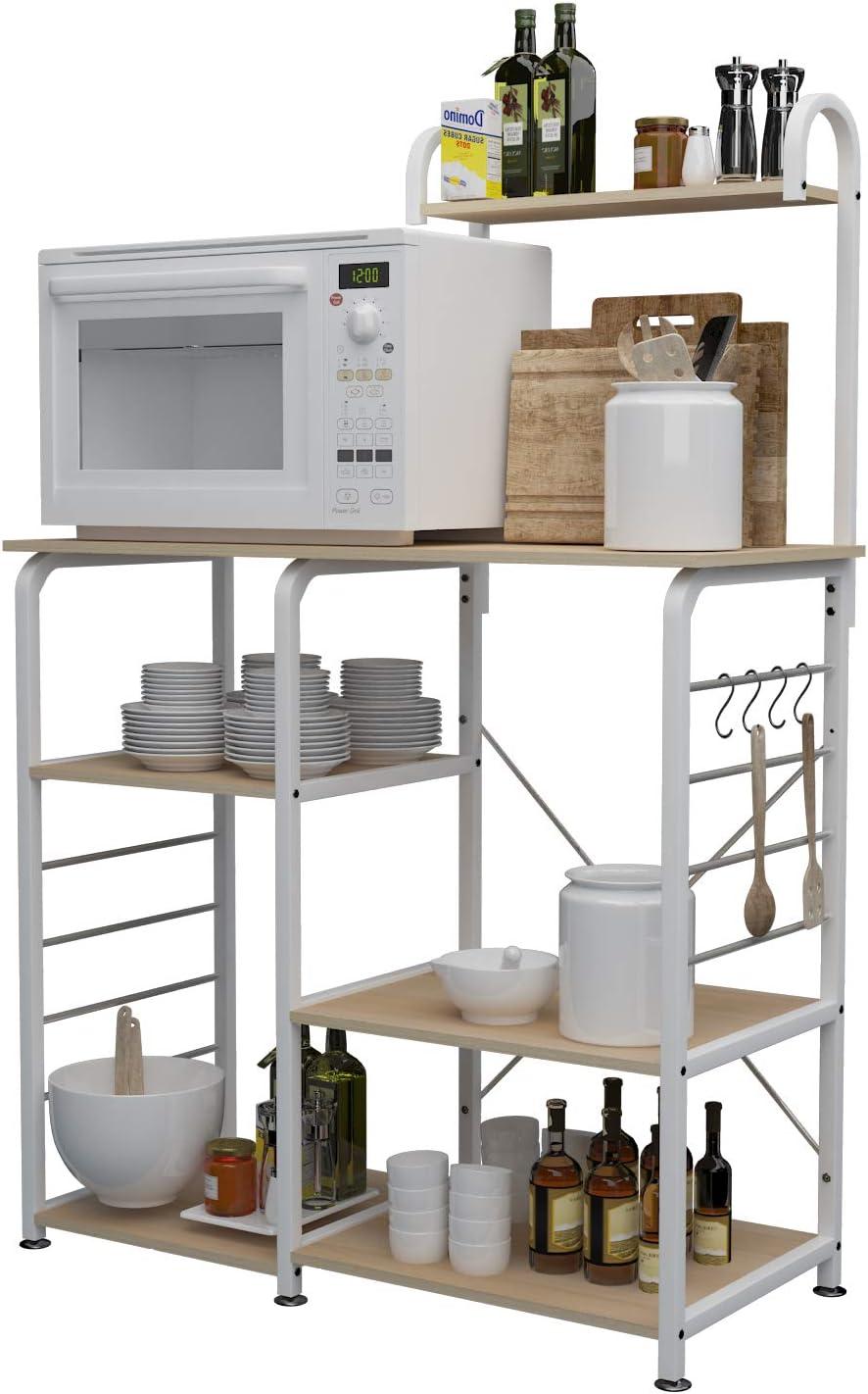 sogesfurniture Estante de Cocina Estantería para Microondas Estantería Metálica, 3 + 4 Niveles Baker's Rack Soporte para Carro de Microondas Estantes de Almacenamiento, Arce Blanco 172-MP-BH