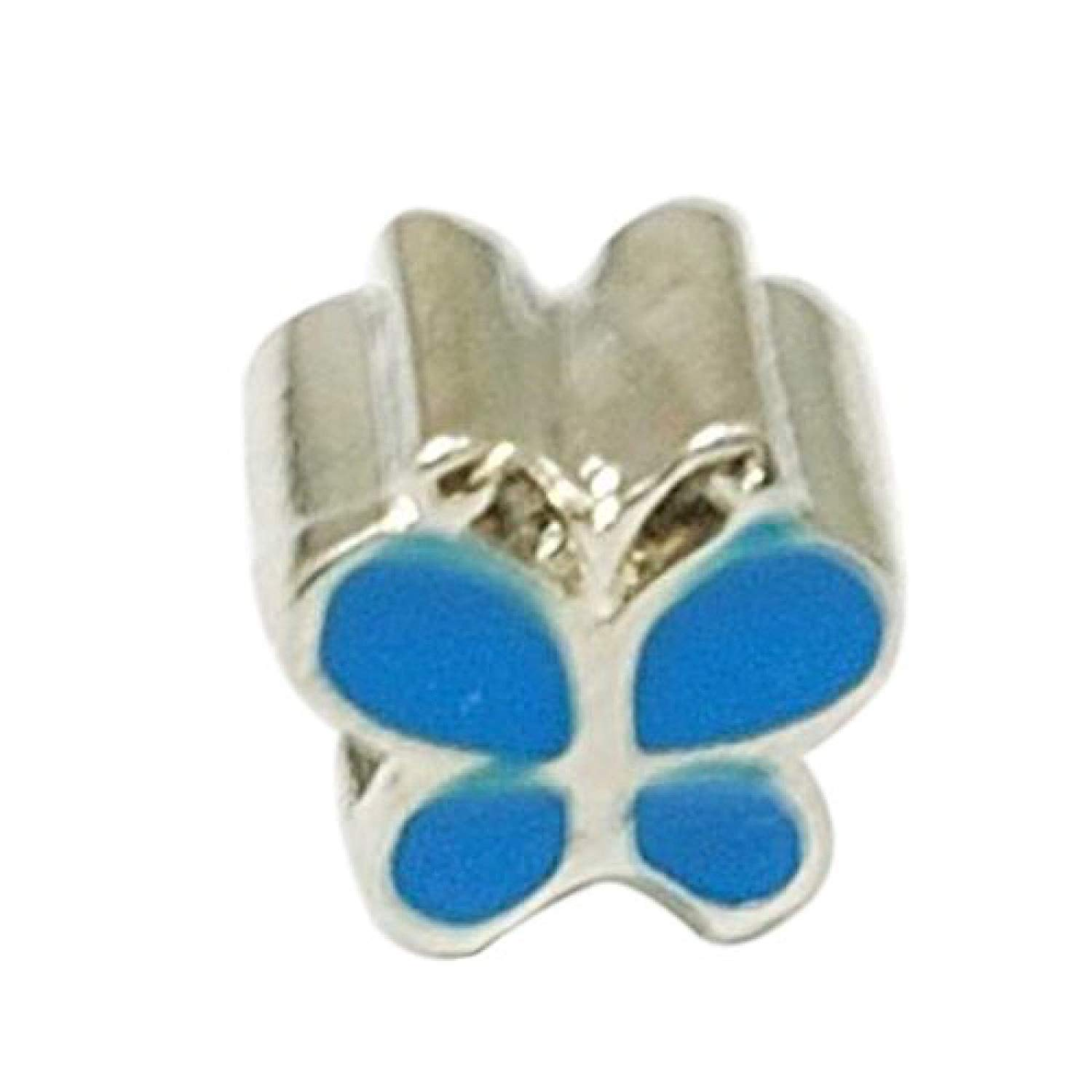 TOC BEADZ Blue Butterfly 9mm Slide-On Off Charm Bead