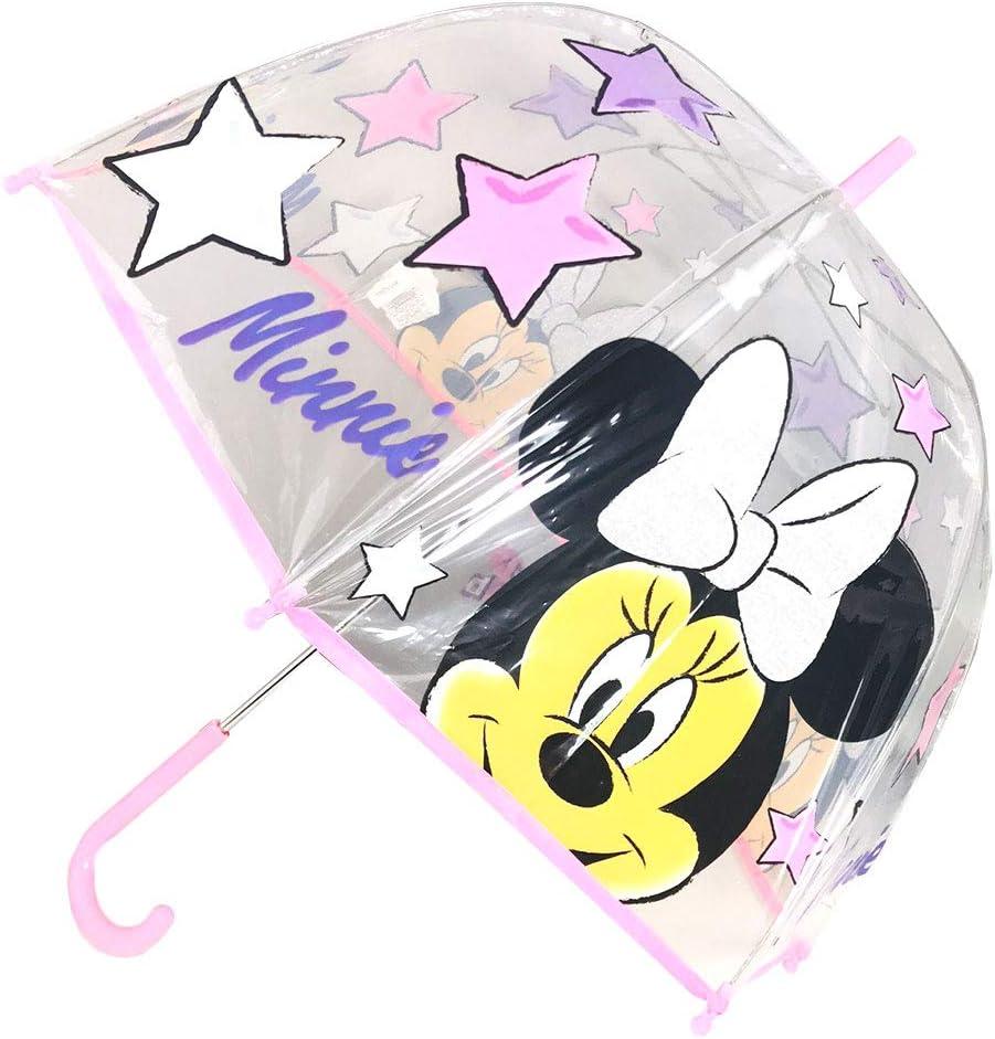 Rose - WD12780 Minnie Star WD12780 Parapluie d/ôme Transparent Manuel pour Enfant Rose