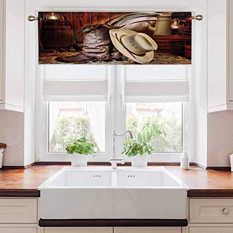 Kitchen Window Valance Western Tiers Curtains Privacy Drapes Authentic American West Rodeo Elements With Antique Supplies Retro Artwork Photo For Bedroom And Living Room Rod Pocket Panel 54 W X 12 L Home