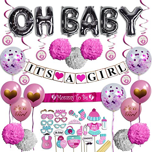 Baby Shower Decorations for Girl - Pink Gold Cream & White Party Supplies - Its A Girl & OH BABY Banners, Confetti Balloons, Photo Props, Mommy To Be Sash, Pom Poms - Nursery Room Decor