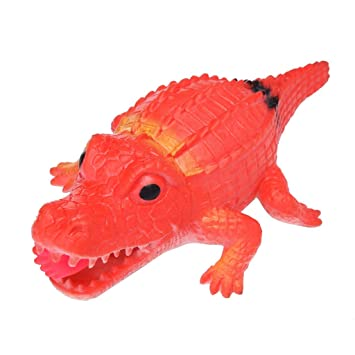 Squeeze Toy 14cm Crocodile Stress Ball Alternative Humorous Light Hearted Funny Toys (Red)