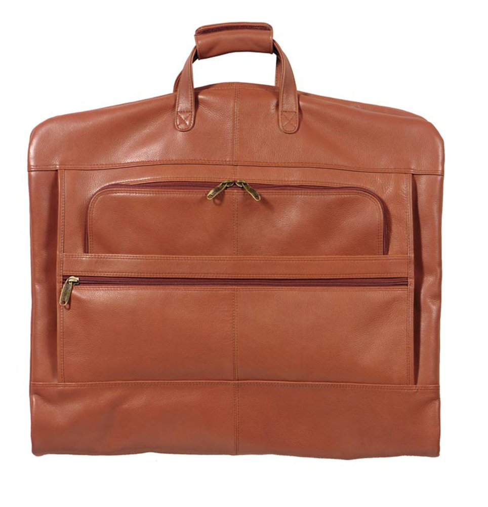 Winn International Cowhide Napa Supple Leather Garment Bag in Camel