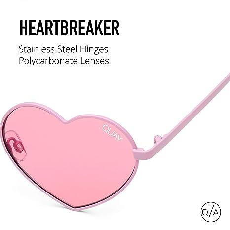 1bb2671dc7b Amazon.com  Quay Australia HEARTABREAKER Women s Heart Shaped Sunglasses -  Pink Pink  Clothing