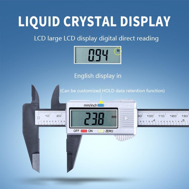 150mm 6 inch LCD Digital Electronic Carbon Fiber Vernier Calipers Measuring L/&6