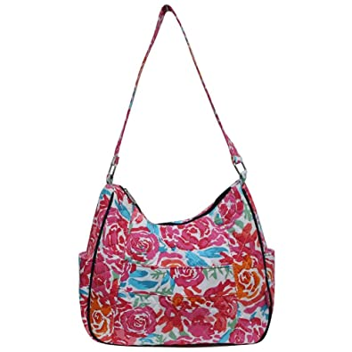 3b8526c62afc Amazon.com  Ngil Quilted Cotton Hobo Shoulder Bag (All Flowers Navy)  Shoes