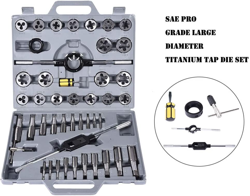 Mechanics with Storage Case for Cutting Internal Threads Workshop 45 Piece Tap and Die Set for Garage Large Metric Titanium Standard Tap And Die Threading Tool Set Essential Threading Tool