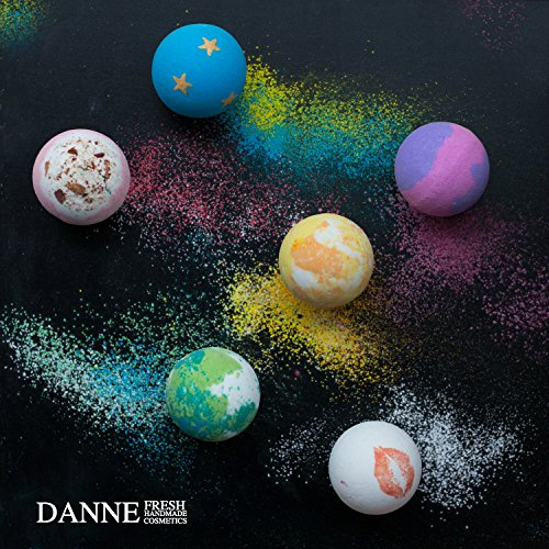Danne Large 6 X 4.5oz Lush Bath Bombs Gift Sets, Handmade And Natural Organic Essential Oils, Dry Flowers Bath Bomb For Moisturizing Skin and Relaxation.Best Birthday/Christmas Gift for women, girls