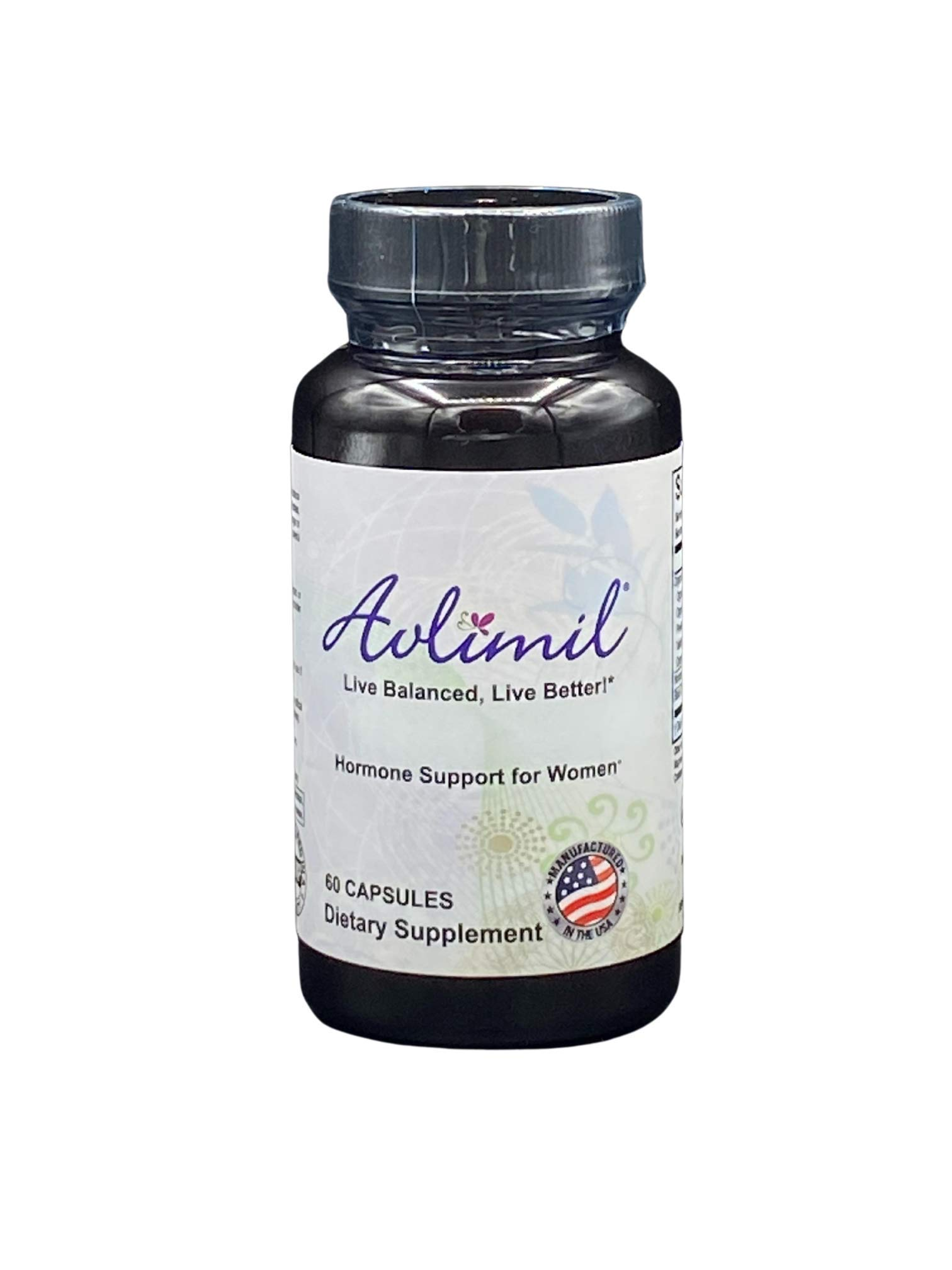 Avlimil® Hormone Balance & Menopause Support   Mood Swings, Hot Flashes, Night Sweats and Irritability - Isoflavones, Black Cohosh, Raspberry, Valerian, Sage, Red Clover, Lemon Balm - 1-Month