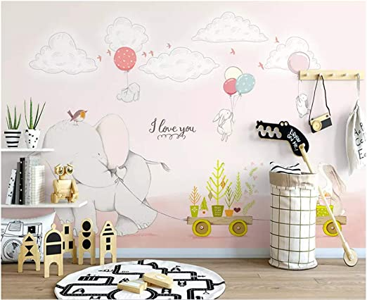 Amazon Mbwlkj 手描きの人格の壁紙象 白ウサギ イラスト 子供部屋 ソファ テレビ 背景 3d壁紙 150cmx100cm 壁紙