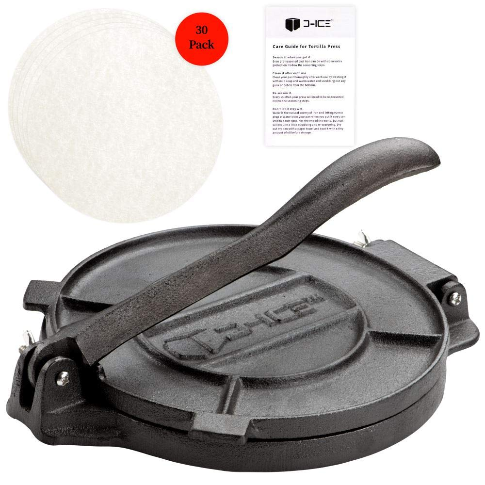 D-ICE Tortilla Press - 8 Inch Pre Seasoned Cast Iron Roti Press, Corn Tortilla Press, Pataconera, Tortilladora - 30 Pre-Cut Round Non-Stick Parchment Wax Paper  by D-ICE