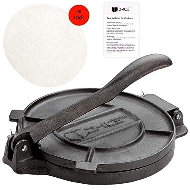 D-ICE Tortilla Press – 8 Inch Pre Seasoned Cast Iron Roti Press, Corn Tortilla Press, Pataconera, Tortilladora - 30 Pre-Cut Round Non-Stick Parchment Wax Paper