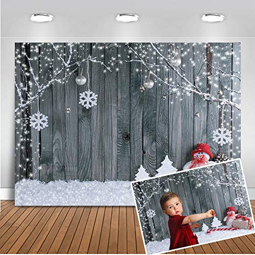 Mocsicka Happy New Year Backdrop 7x5ft Grey Wooden Wall Winter Snowflake Photo Booth Backdrops Xmas Party Decoration Banner for Kids Photography Background -