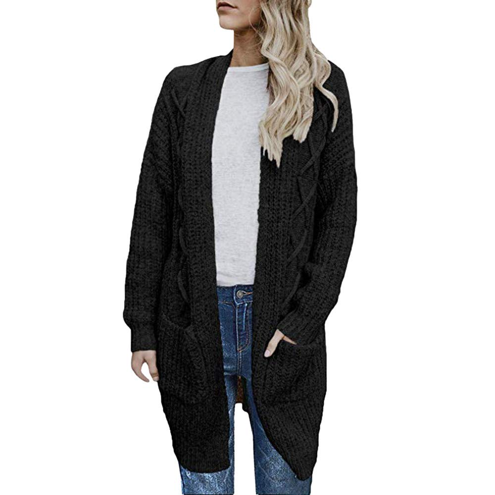 Dainzuy Ladies Sexy Casual Coat,Women Long Sleeve Open Front Chunky Cable Knit Long Cardigans Sweater