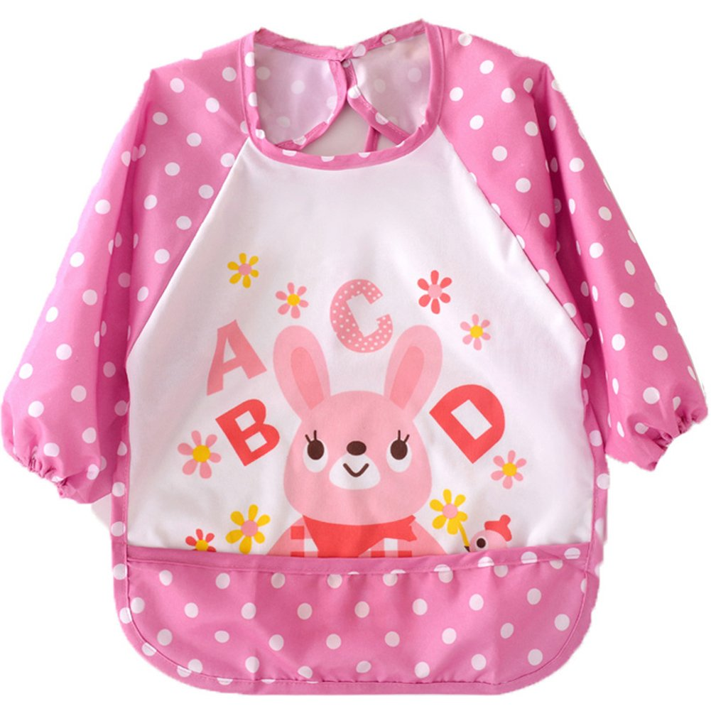 Waterproof Cute Baby Feeding Bibs for 1-3 Years Old Baby (Pink-Rabbit)