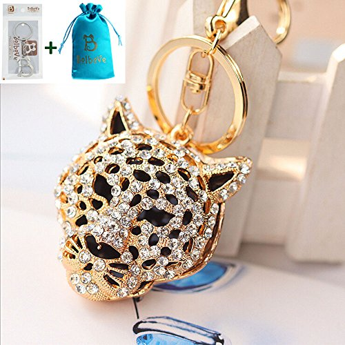 Bro'Bear Leopard Creative Sparkling Key Chain Bling Diamond Crystal Rhinestone Pendant Purse Handbag Bag Hanging Charm Decoration Gift (Gold) Diamond Purse Pendant