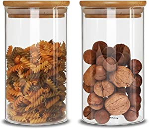 IDEALUX Glass Storage Jars Set of 2(48oz/1400ml) with Airtight Seal Bamboo Lid Stackable Kitchen Canisters for Candy, Coffee Bean Cookie, Rice, Sugar, Flour, Pasta, Nuts, Coffee