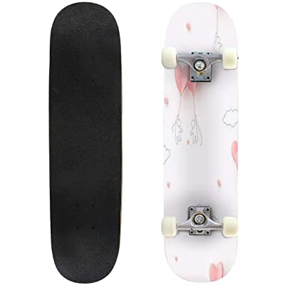 Classic Concave Skateboard Valentines Hearts Balloons with People Flying on Pink Background Longboard Maple Deck Extreme Sports and Outdoors Double Kick Trick for Beginners and Professionals : Sports & Outdoors