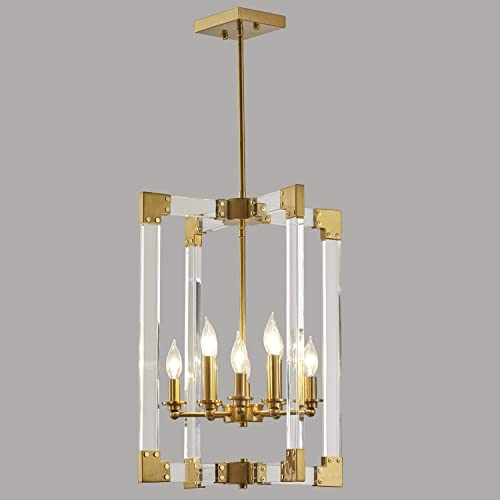 Hanging Pendant Light Fixture-8 Light Rectangle Clear Brass Modern Chandelier