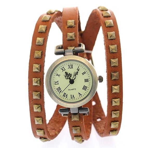 CLW Cow Leather Band Yellow Roma Números antiguos antiguos Relojes Vintage