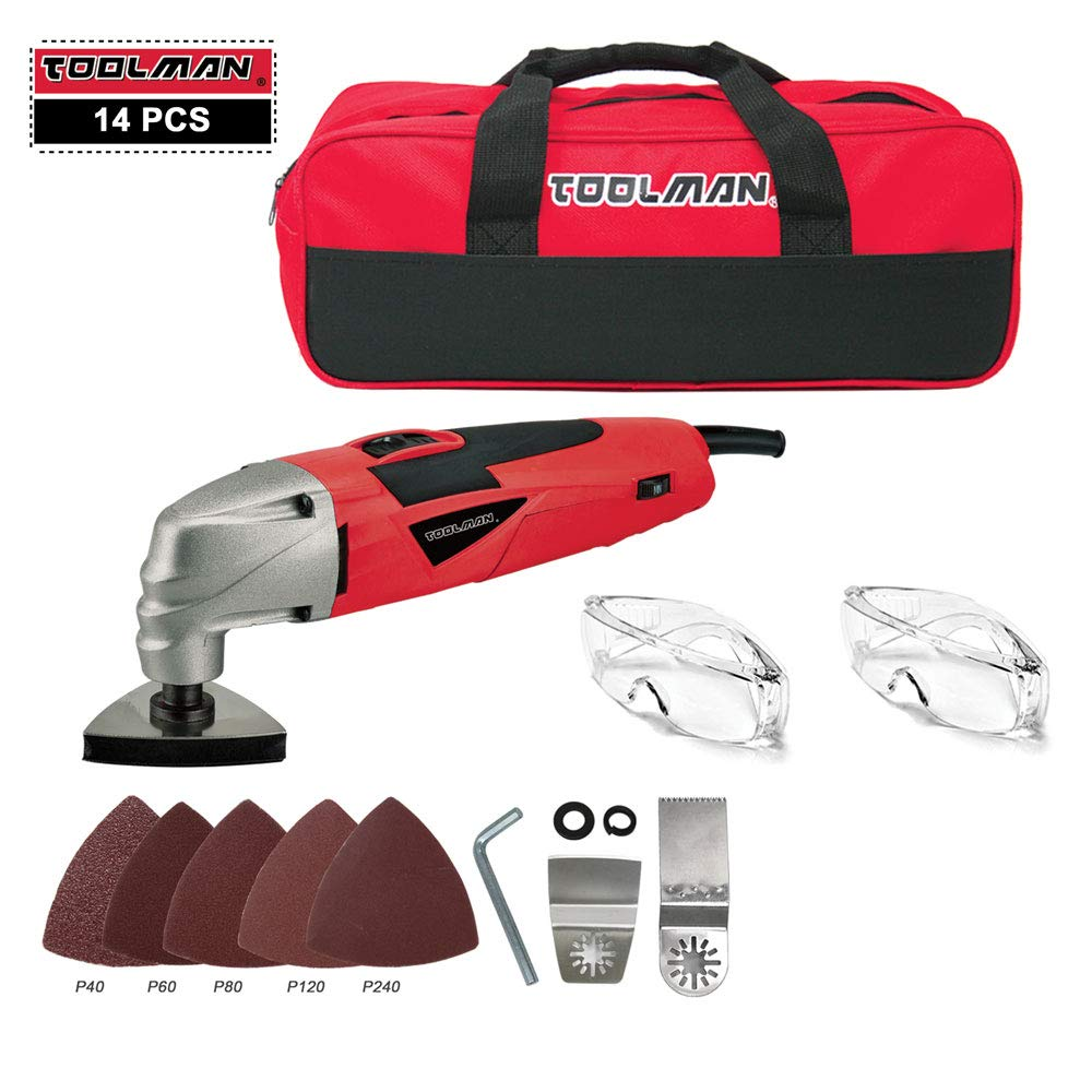 Toolman 11pcs Multi-Purpose Oscillating Tool 2.1A 5 Speed with Safety Goggle Glasses Cutting Griding and Tool Bag For Cutting Grinding works with DeWalt Makita Ryobi Accessories