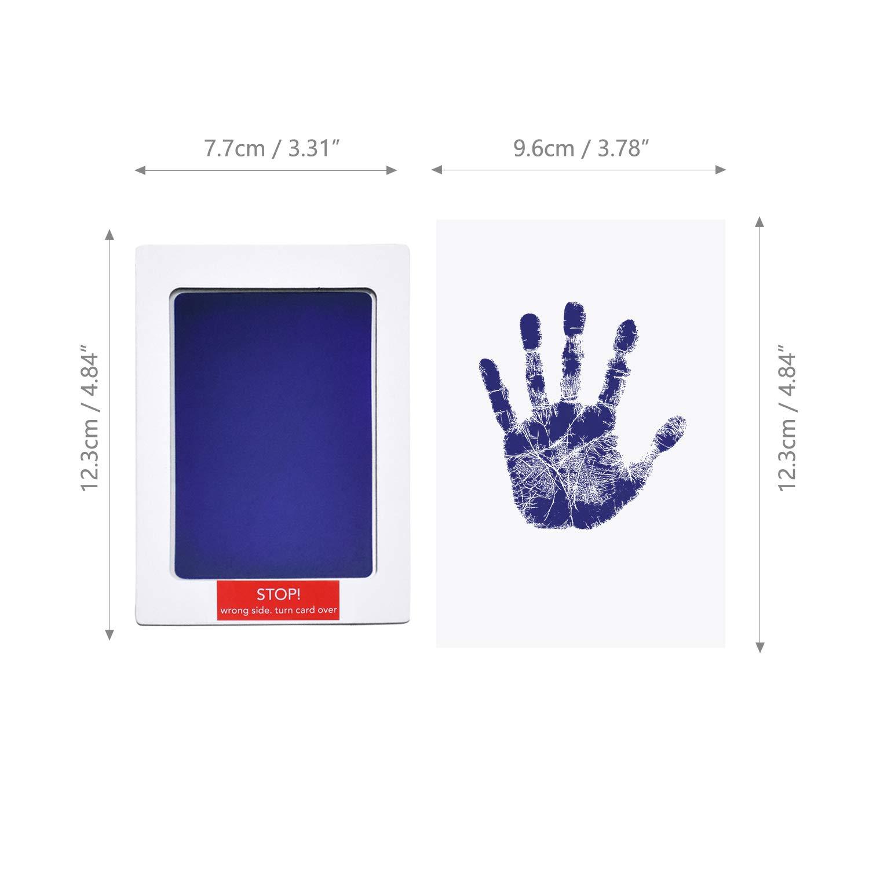 NATEE Empreintes de Mains et de Pas bleu Cadeau pour la F/ête de Naissance Encre de Tampon sans Nettoyage 2 Papiers