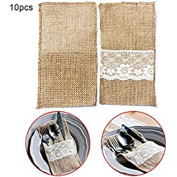 "10Pcs 4""x8"" Natural Burlap Utensil Holders Knifes Forks Bag, Vintage Linen Lace Cutlery Pouch Party Bridal Shower Wedding Tableware Bags Favor Holder Decoration"
