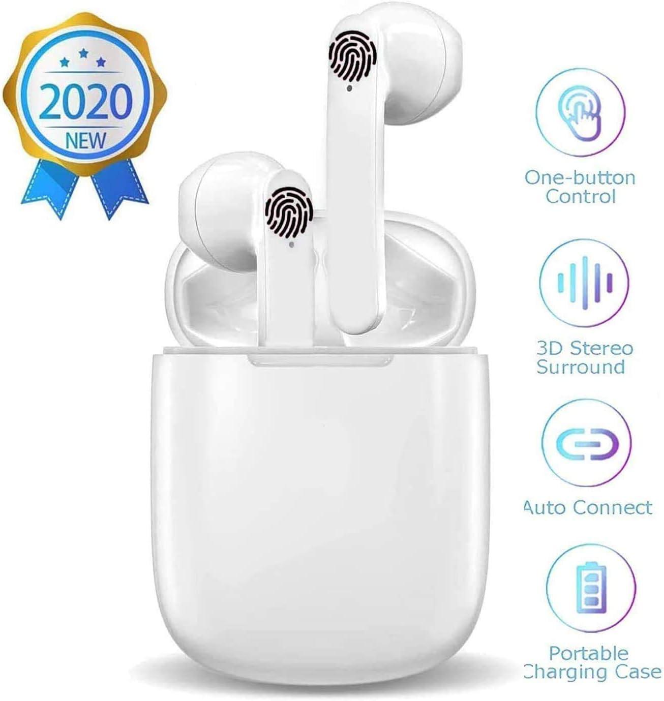Auriculares Bluetooth 5 Auricular Inalámbrico reducción de Ruido estéreo 3D HD Control Táctil Auriculares In-Ear IPX5 Impermeables Sport Auriculares para Android/iPhone/Samsung
